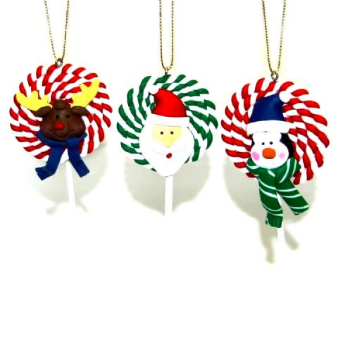 SWIRL LOLLIPOPS - Clay Christmas Tree Ornaments Handmade Xmas Decorations - Set of 3